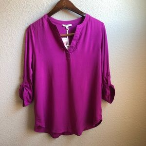 Pleione purple v neck flowy lightweight top